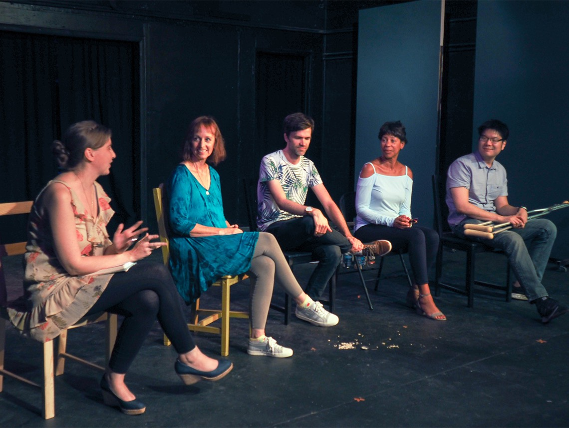 Lauren Gorski (moderator) interviews playwrights Laurel Wetzork, Jonathan Kuhn, Lena Ford, and Arthur Keng, at the Exposition Review Staged Readings 2017